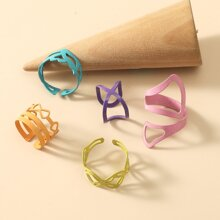 5pcs Hollow Out Heart Decor Ring