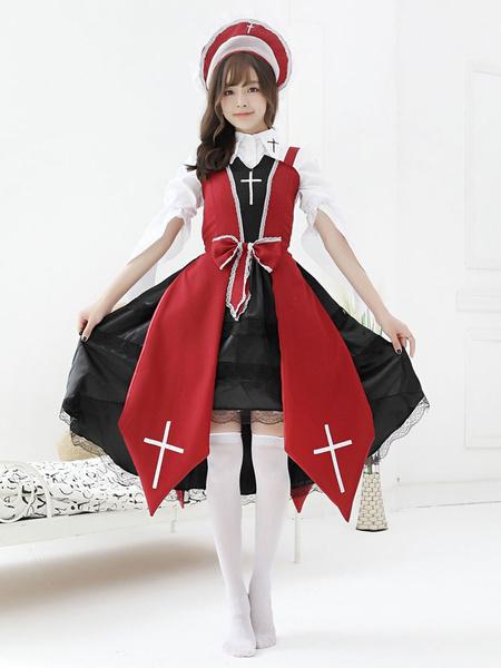 Milanoo Gothic Lolita JSK Dress Dark Night Contract Bows Cross Lace Red Lolita Jumper Skirts