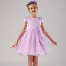 Toddler Girls Bow Back Appliques Detail Ruffle Tulle Party Dress