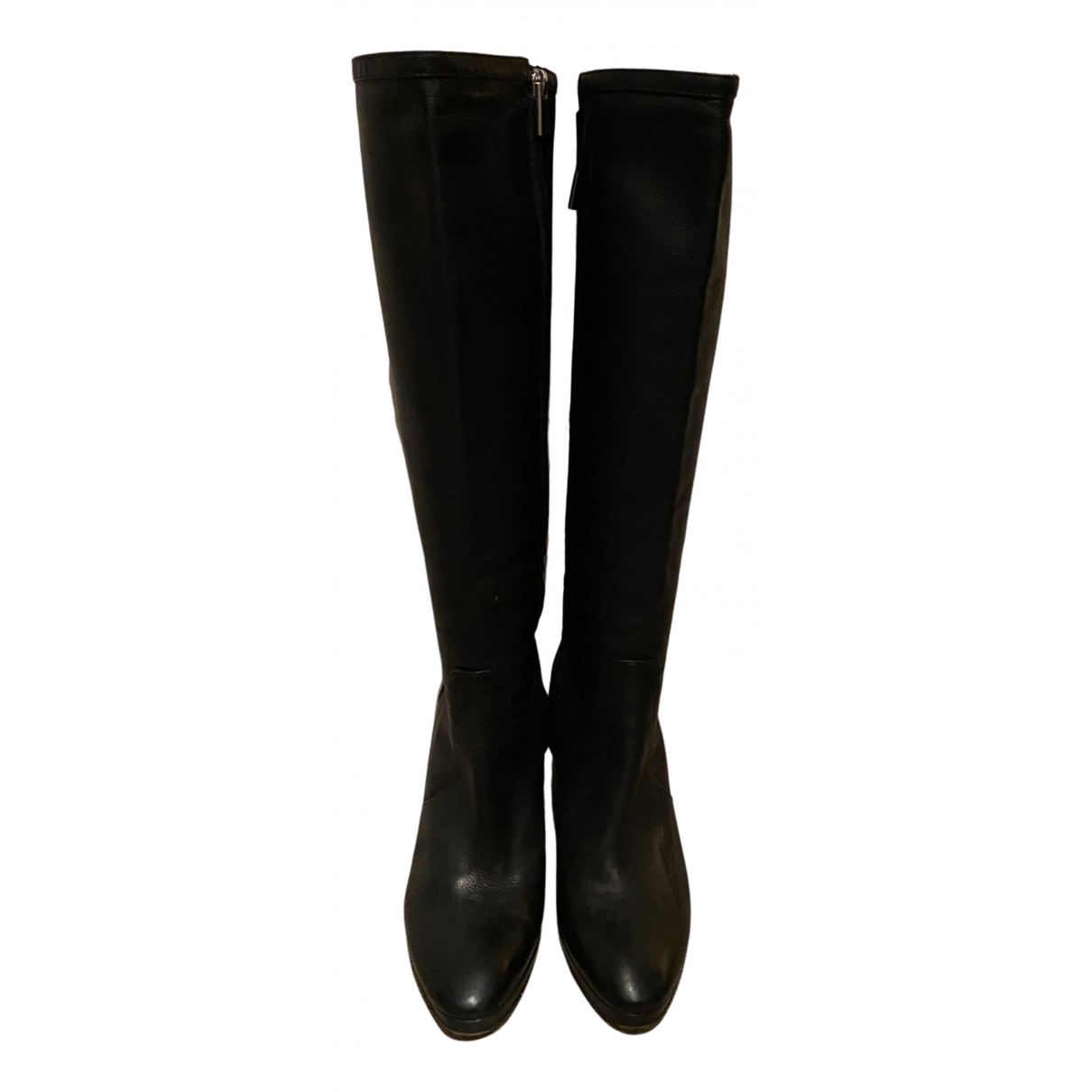 Non Signé / Unsigned N Black Leather Boots for Women 38 EU