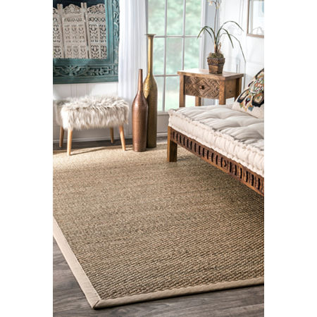 nuLoom Elijah Seagrass with Border Rug, One Size , White