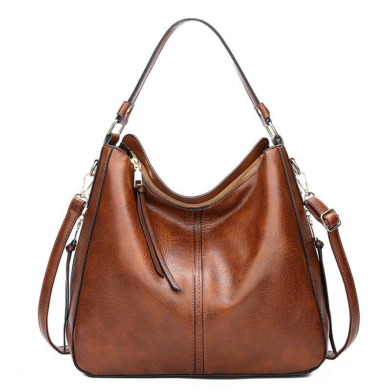 Women Large Capacity Handbag Tote Bag Tassel PU Leather Shoulder Bag