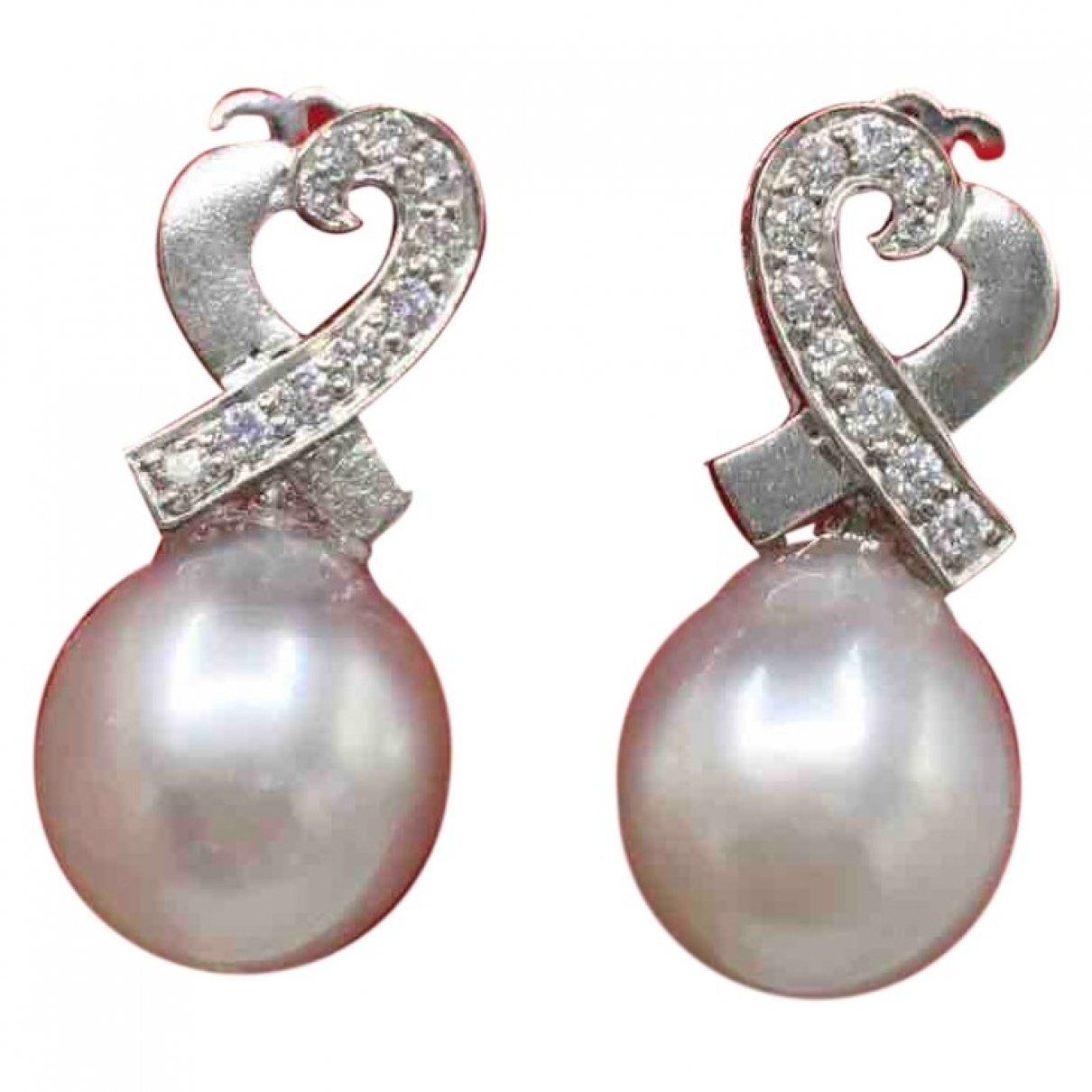 Non Signé / Unsigned Nacre Silver White gold Earrings for Women \N
