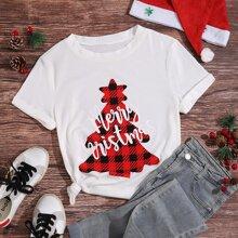 T-Shirt mit Buchstaben & Weihnachtsbaum Muster