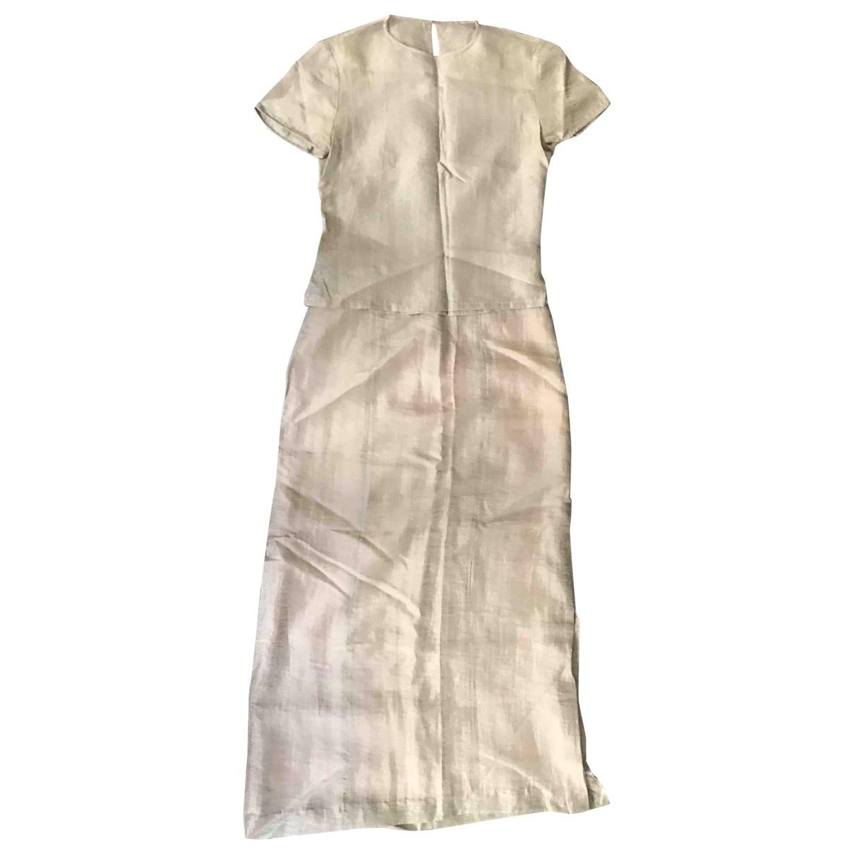 - Robe   pour femme en lin - argente