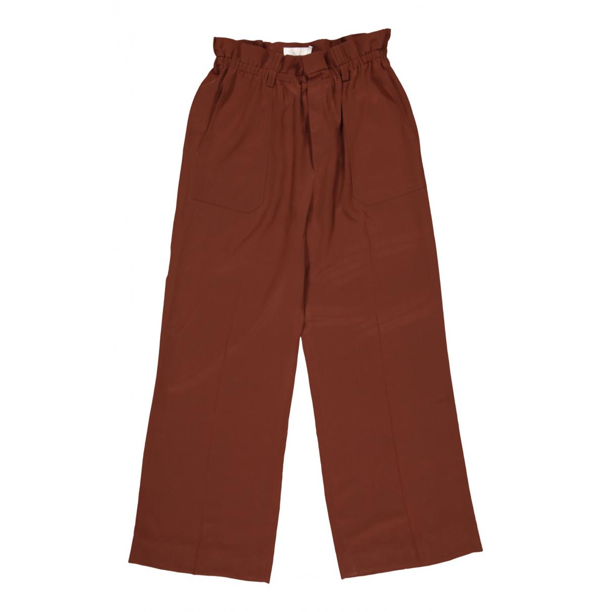 Chloé N Brown Silk Trousers for Women 42 FR