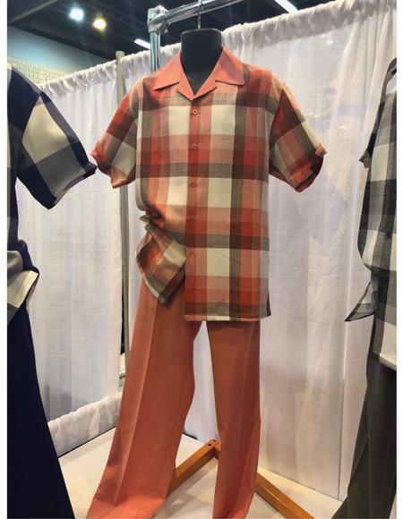 Apollo King Mens Casual Walking Suit Shirt & Pants Salmon