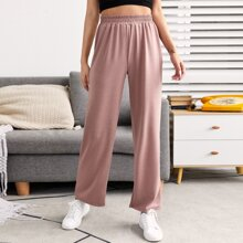 Solid Elastic Waist Lounge Pants