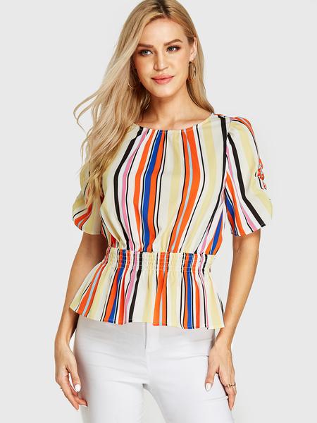 YOINS Multi Stripe Pleated Design Half Sleeves Blouse