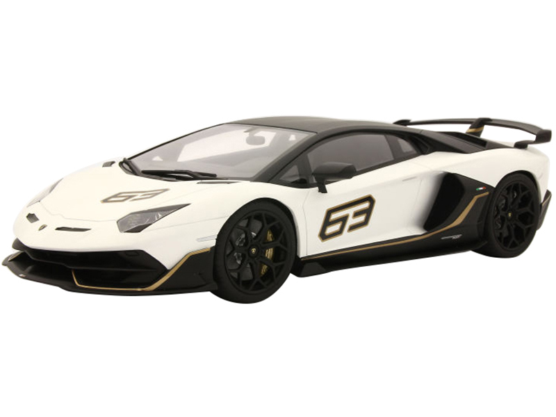 Lamborghini Aventador SVJ 63 Matt White with Black Top and Gold Stripes 1/18 Model Car by Kyosho