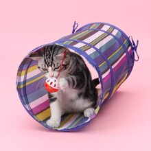 Colorblock Striped Cat Tunnel Toy