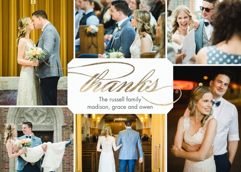 Wedding Thank You 5x7 Folded Cards, Standard Cardstock 85lb, Card & Stationery -Thank You Classic Gold