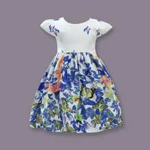 Toddler Girl Butterfly Print Pearls Party Dress