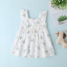 Baby Maedchen A Linie Kleid mit Pflanzen Muster, Raffungsaum und Schleife vorn