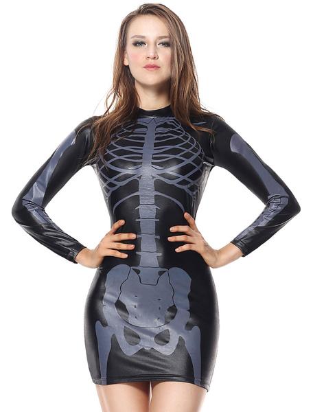 Milanoo Disfraz Halloween Disfraz de Esqueleto de Halloween Mujeres negras Impreso vestido corto de manga corta Vestido de miedo Carnaval Halloween