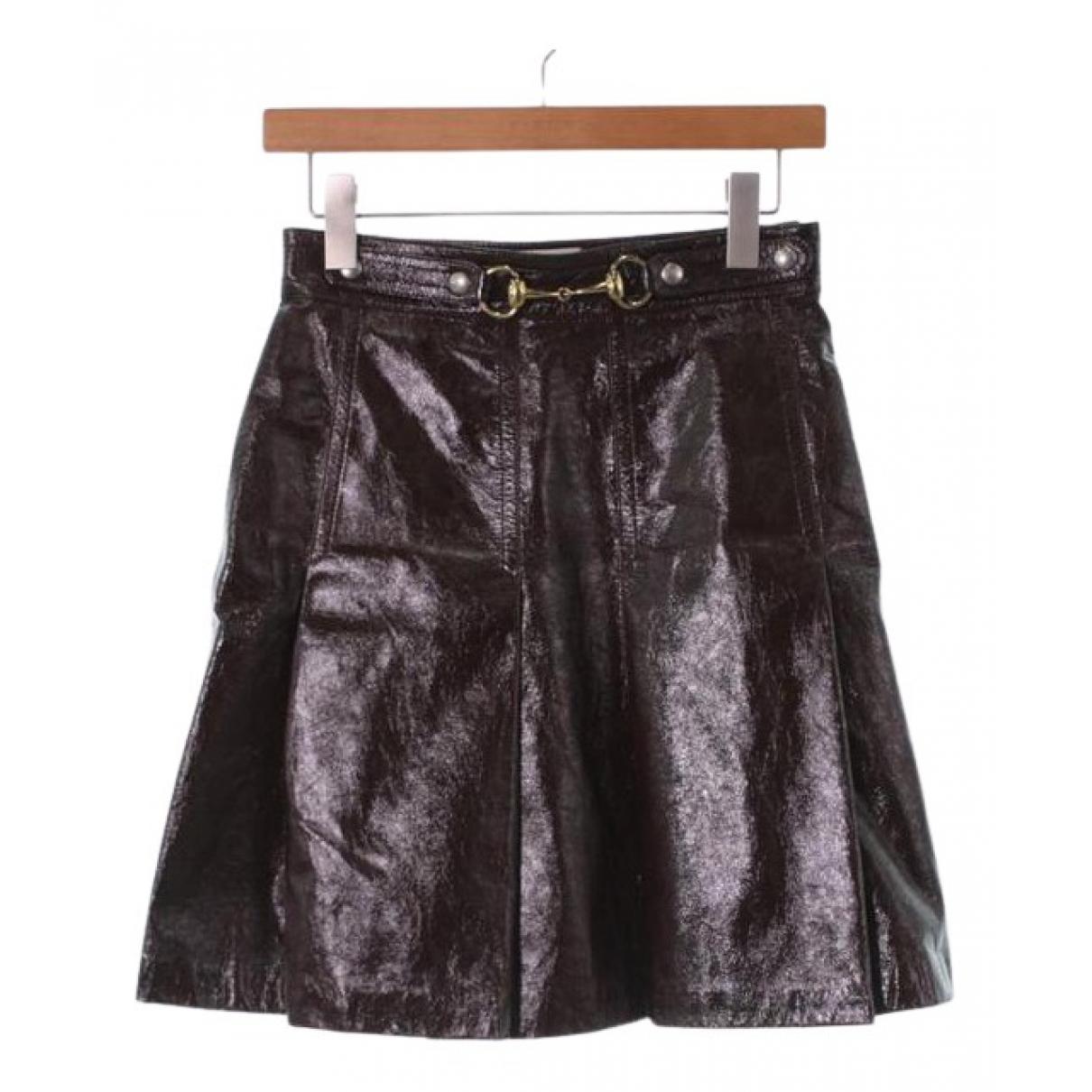 Gucci - Jupe   pour femme en cuir verni - marron