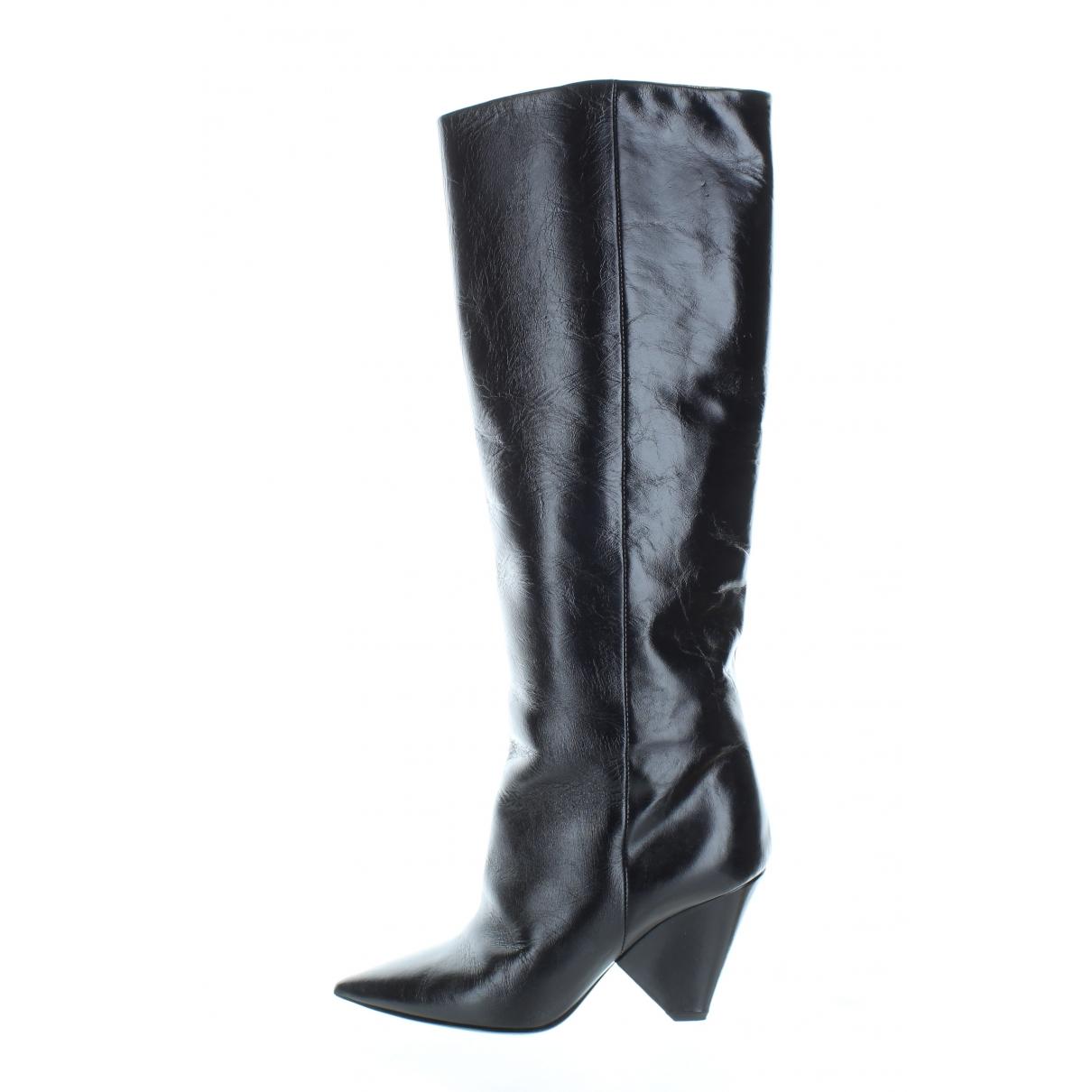 Saint Laurent Niki Black Leather Boots for Women 35.5 EU