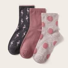 3 Paare Punkten & Flamingos Muster Socken