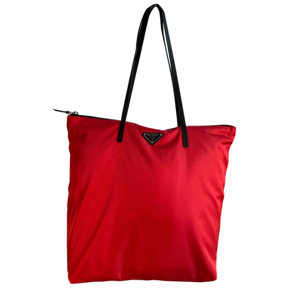 Prada - Sac a main Tessuto city pour femme - rouge