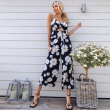 Cut Out Drawstring Knot Front Shirred Back Wide Leg Daisy Floral Jumpsuit