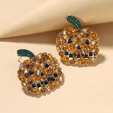 Halloween Rhinestone Pumpkin Earrings