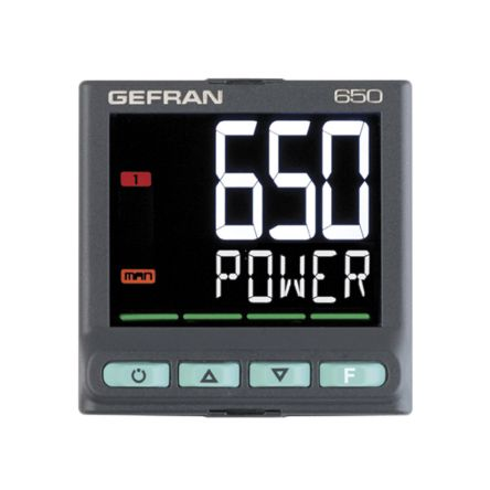 Gefran 650 PID Temperature Controller, 48 x 48mm, 2 Output Logic, Relay, 100  240 V ac Supply Voltage
