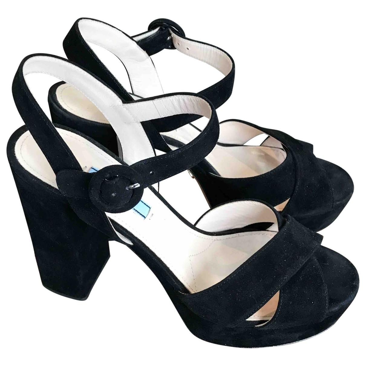 Prada \N Black Suede Sandals for Women 39 IT
