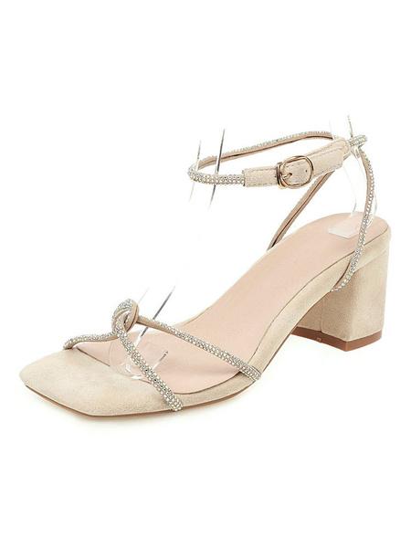Milanoo Mid Heel Sandals Womens Rhinestones Open Toe Slingback Block Heel Sandals