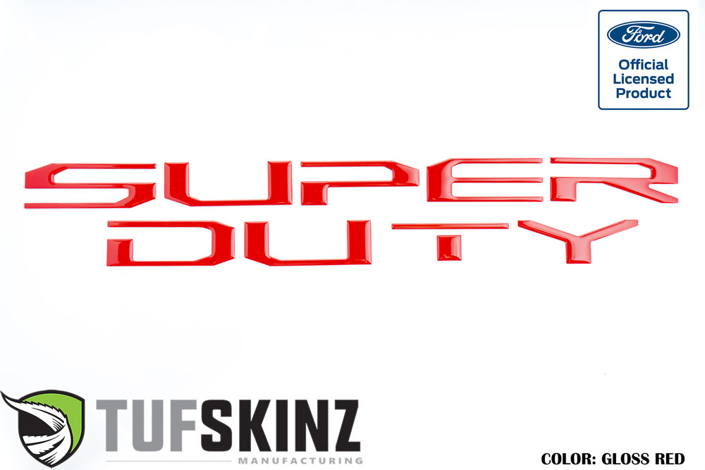 Tufskinz SUP004-RED-G Tailgate Super Duty Inserts 10 Piece Kit Gloss Red Ford Super Duty 2017-2021