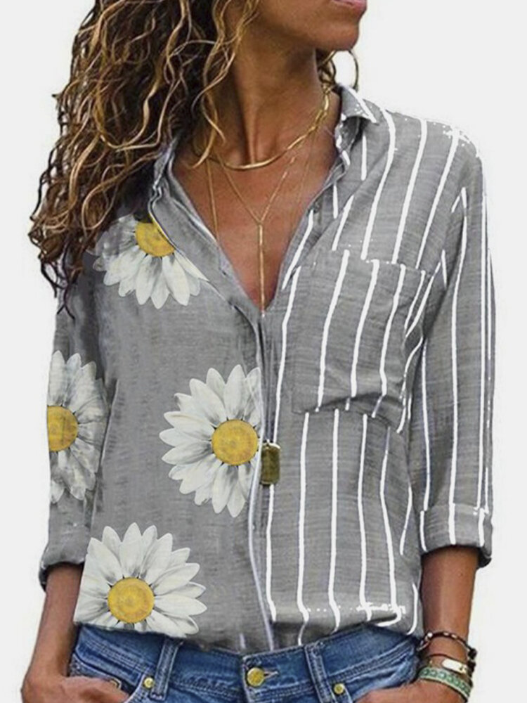 Flowers Print Striped Patchwork Button Plus Size Lapel Shirt