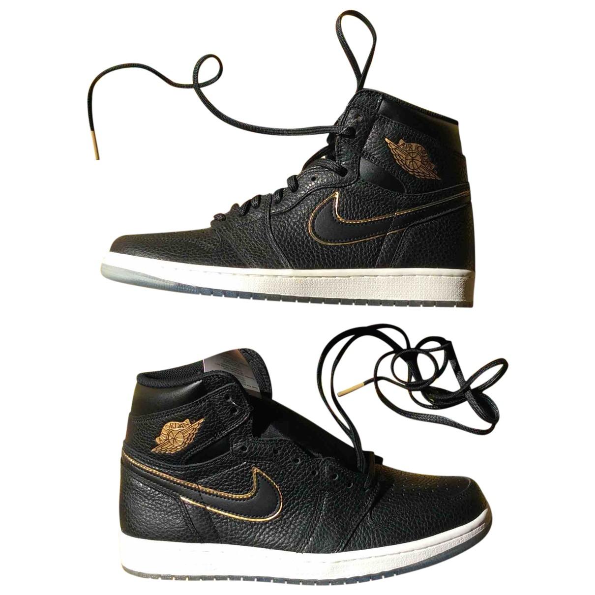 Jordan - Baskets Air Jordan 1  pour homme en cuir - noir