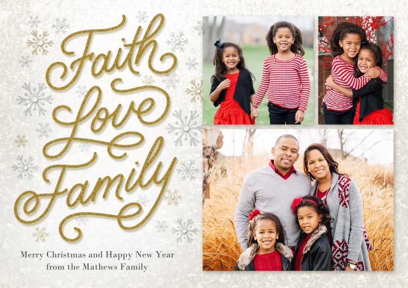 Holiday Photo Cards 5x7 Cards, Premium Cardstock 120lb with Elegant Corners, Card & Stationery -Elegant Faith Love Family