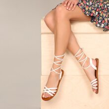 Strappy Open Toe Ankle Wrap Sandals