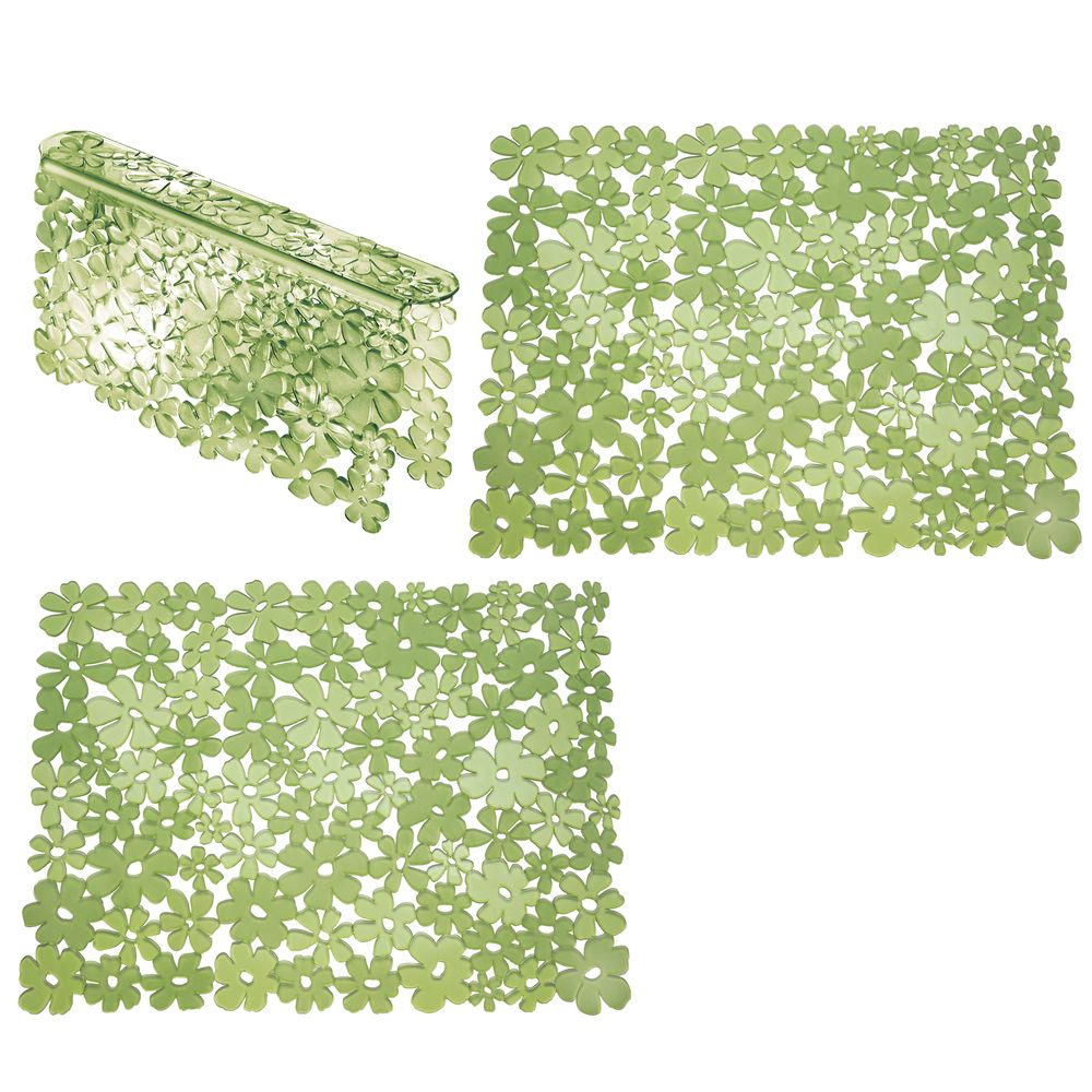 Adjustable Kitchen Sink Protector Mats and Saddle SetFloral Design in Green, by mDesign