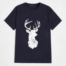 T-Shirt mit Hirsch Muster
