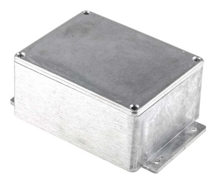 RS PRO Natural Die Cast Aluminium Enclosure, IP65, Shielded, Flanged, 139.8 x 89.7 x 55.2mm