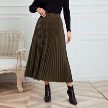 Suede Elastic Waist Pleated Skirt