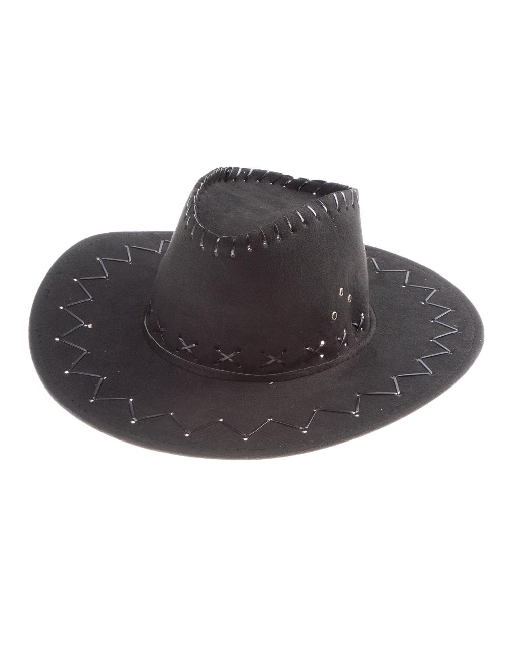 Kostuemzubehor Cowboyhut Lederoptik schwarz