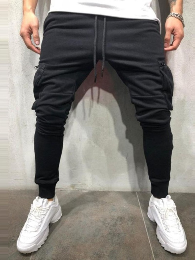 Ericdress Plain Side Pocket Lace-Up Mens Summer Casual Pants