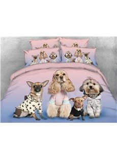 Four Puppies Looking at You Digital Printed 3D 5-Piece Comforter Sets