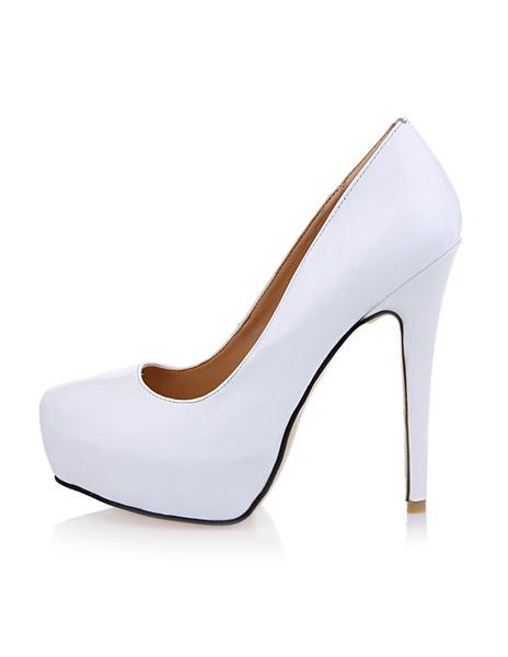 Milanoo Zapatos De Tacones Altos Blancos Zapatos Plataforma Sin Cordones Zapatos De Vestir