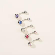 5 piezas anillo de vientre grabado con piedra preciosa