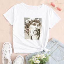T-Shirt mit Skulptur Grafik und rundem Kragen