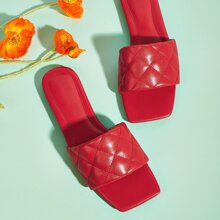 Open Toe Quilted Sliders