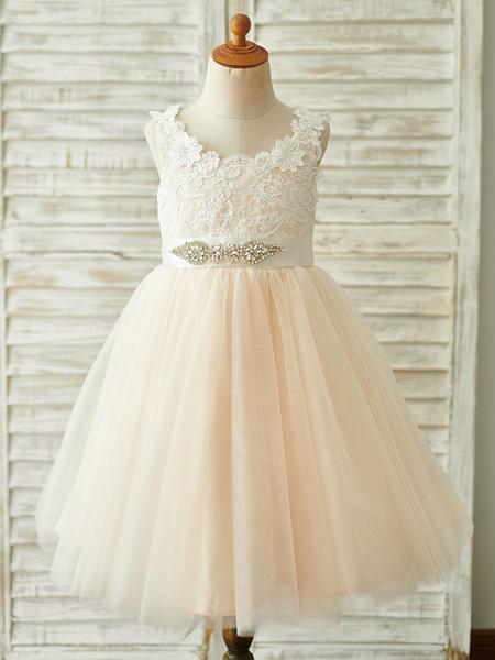 Milanoo Flower Girl Dresses Sash Sleeveless Jewel Neck Champagne Kids Party Dresses