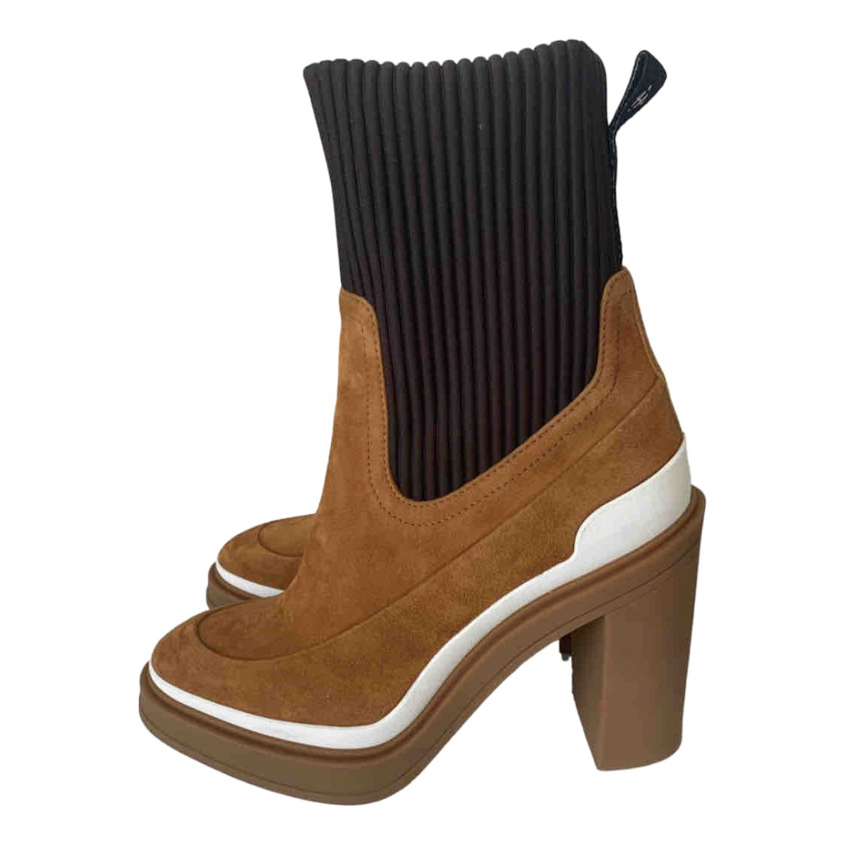 Hermes - Boots   pour femme en suede - camel