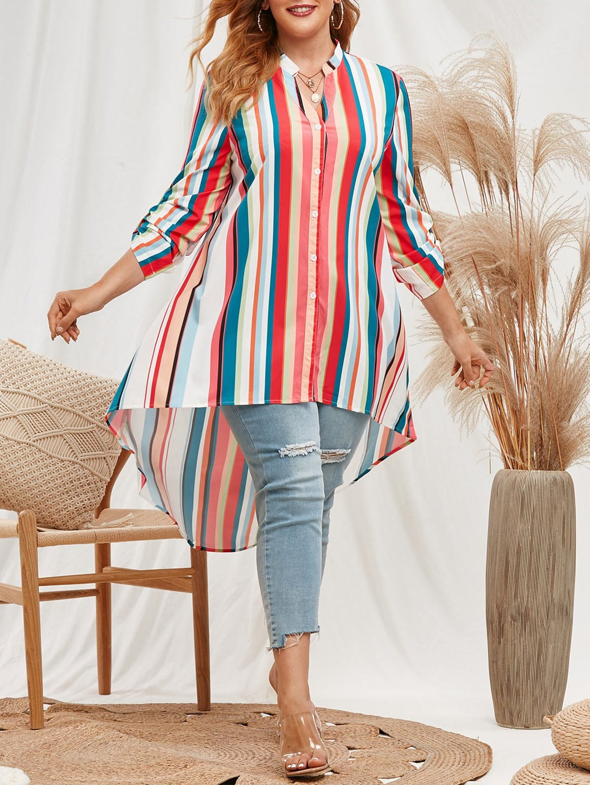Plus Size Rainbow Stripes High Low Blouse