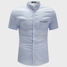 Guys Contrast Tipping Pocket Patched Shirt