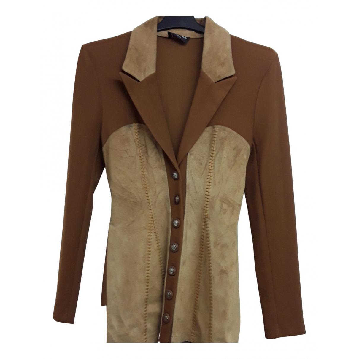 - Veste   pour femme en cuir - camel