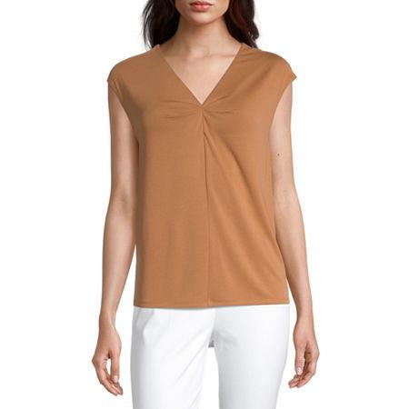 Worthington Womens V Neck Short Sleeve Blouse, X-small , Brown